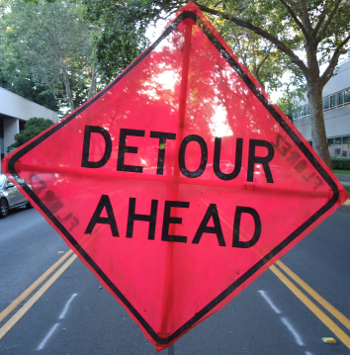 Detour Ahead Image Sign